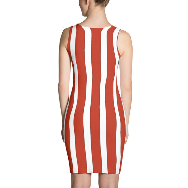 Fashion Dress / Red & White Stripe Graphic Design By Jazart Rex - Jazart Store