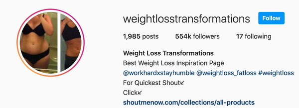 Weightlosstransformations Feature - 454,000 Followers!