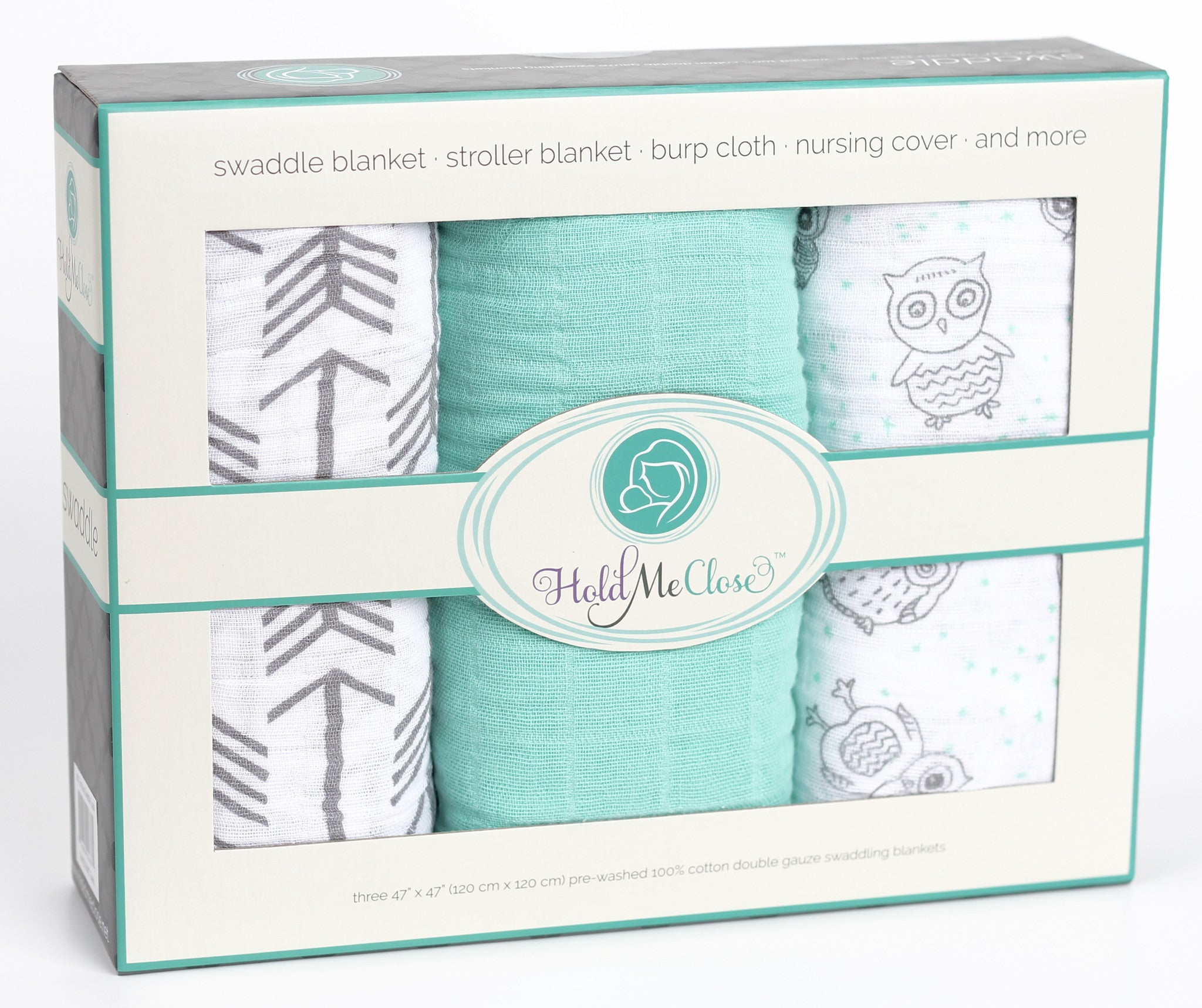 Mint Green Owl and Gray Arrows Muslin Swaddle Blanket Set 3 Pack, 100% Cotton, New Baby Gift