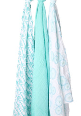 Aqua Blue Bubbles and Arrows Muslin Swaddle Blanket Set 3 Pack, 100% Cotton New Baby Gift