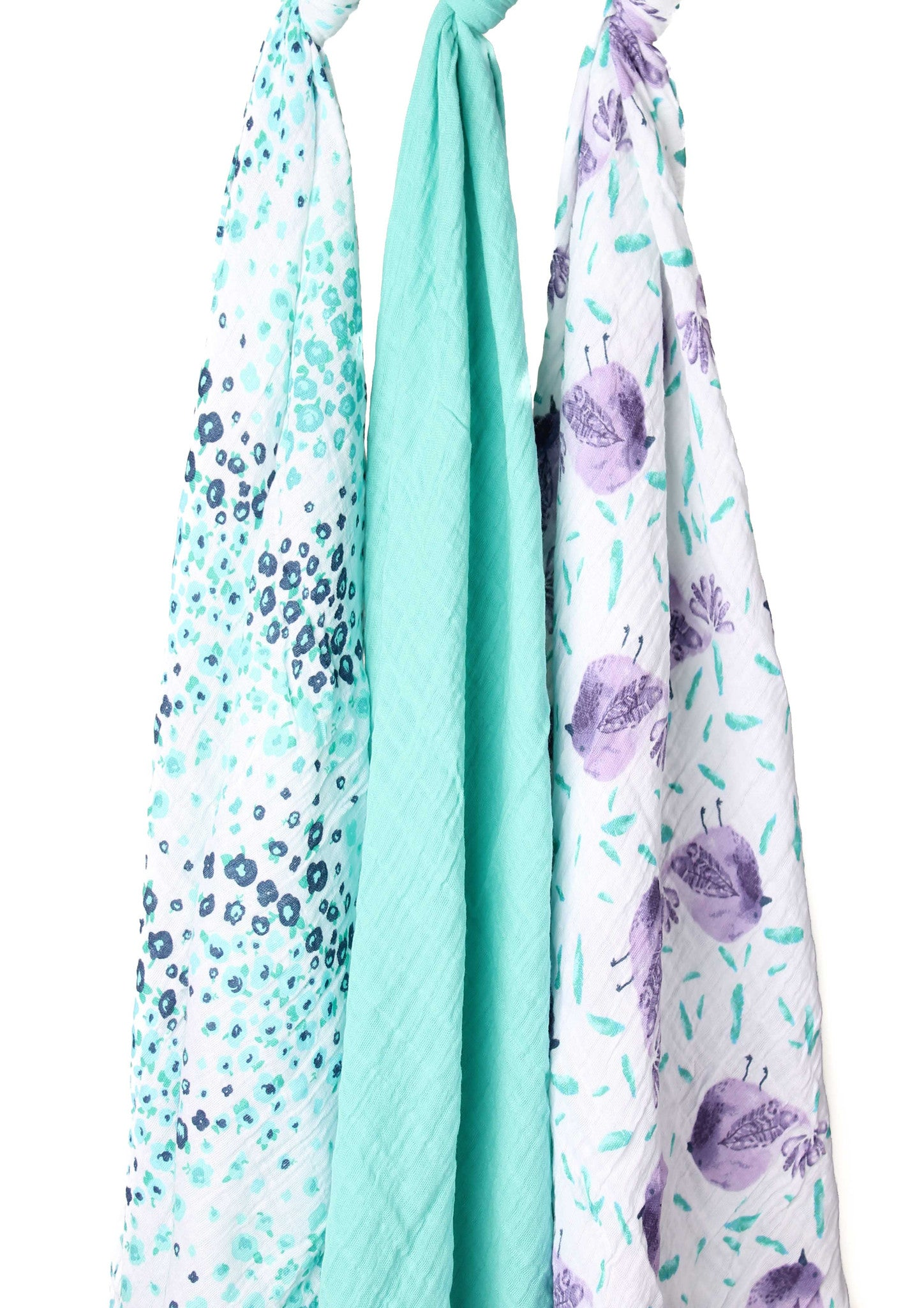Aqua and Purple Birdie Muslin Swaddle Blanket Set 3 Pack, 100% Cotton New Baby Gift