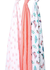 Coral Butterfly and Dandelion Muslin Swaddle Blanket Set 3 Pack, 100% Cotton, New Baby Gift