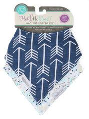 Set of 2 Cotton Muslin Baby Bandana Bibs - Navy Blue Arrows with Blue Sprinkles