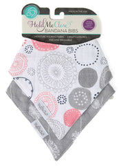 Set of 2 Cotton Muslin Baby Bandana Bibs - Sweet Whimsy Pink Circles and Gray Dandelion