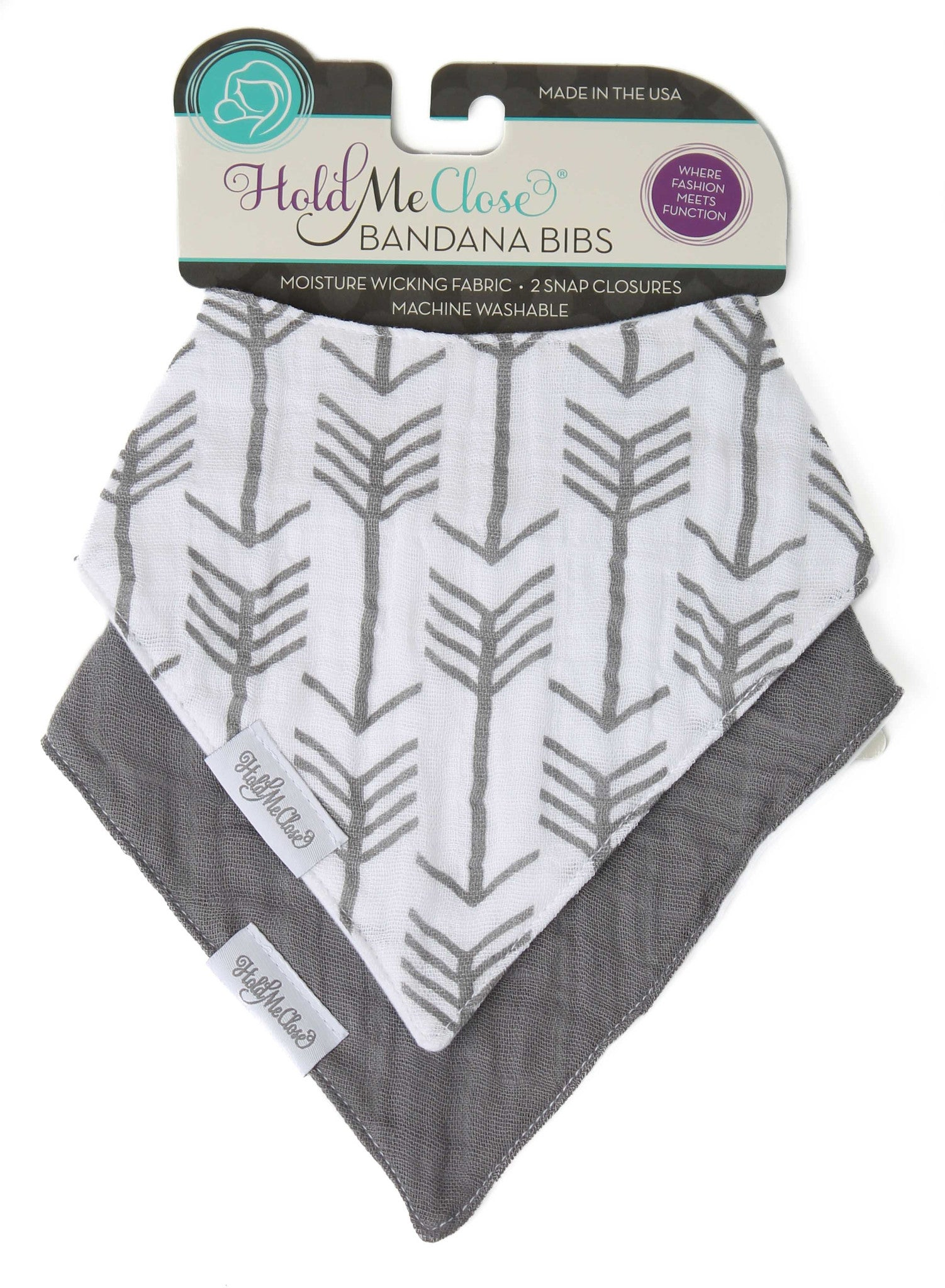 Set of 2 Cotton Muslin Baby Bandana Bibs - White with Gray Arrows and Solid Charcoal