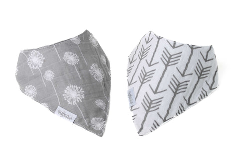 Set of 2 Cotton Muslin Baby Bandana Bibs - Gray Dandelions and Gray and White Arrows