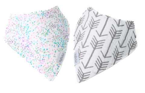 Set of 2 Cotton Muslin Baby Bandana Bibs - Pink Sprinkles and Gray and White Arrows