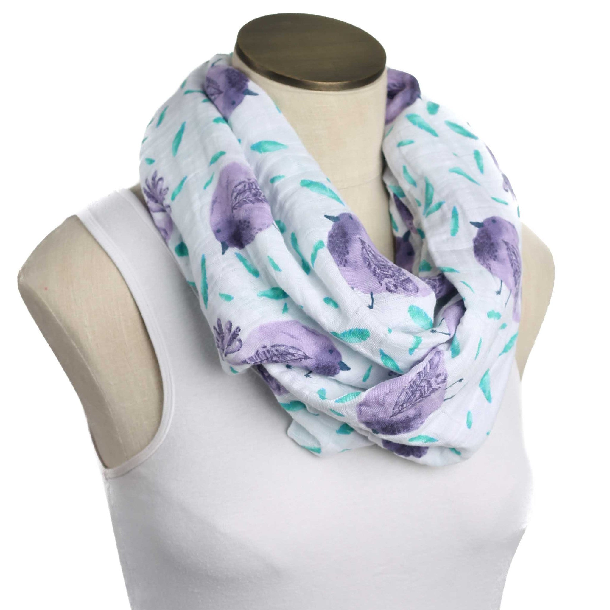 Aqua and Purple Birdie Print Muslin Infinity Nursing Scarf 100% Cotton