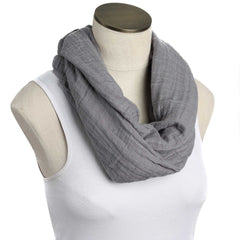 Solid Gray Muslin Infinity Nursing Scarf 100% Cotton