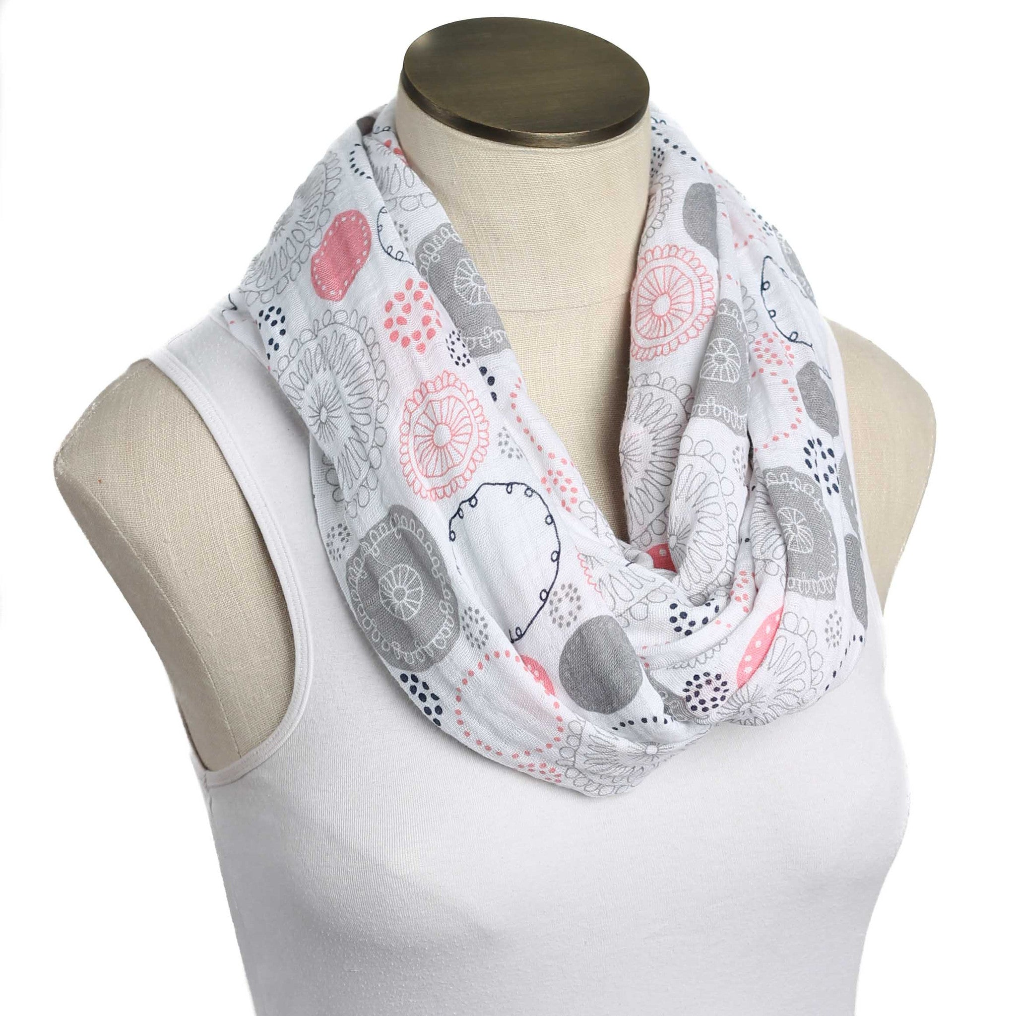 Sweet Whimsy Pink and Gray Circles Muslin Infinity Nursing Scarf 100% Cotton