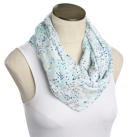 Blue Sprinkles Muslin Infinity Nursing Scarf 100% Cotton