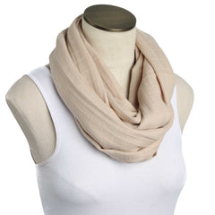 Solid Sandy Tan Muslin Infinity Nursing Scarf 100% Cotton