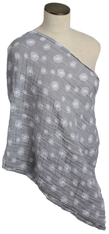 Gray and White Dandelion Muslin Infinity Nursing Scarf 100% Cotton