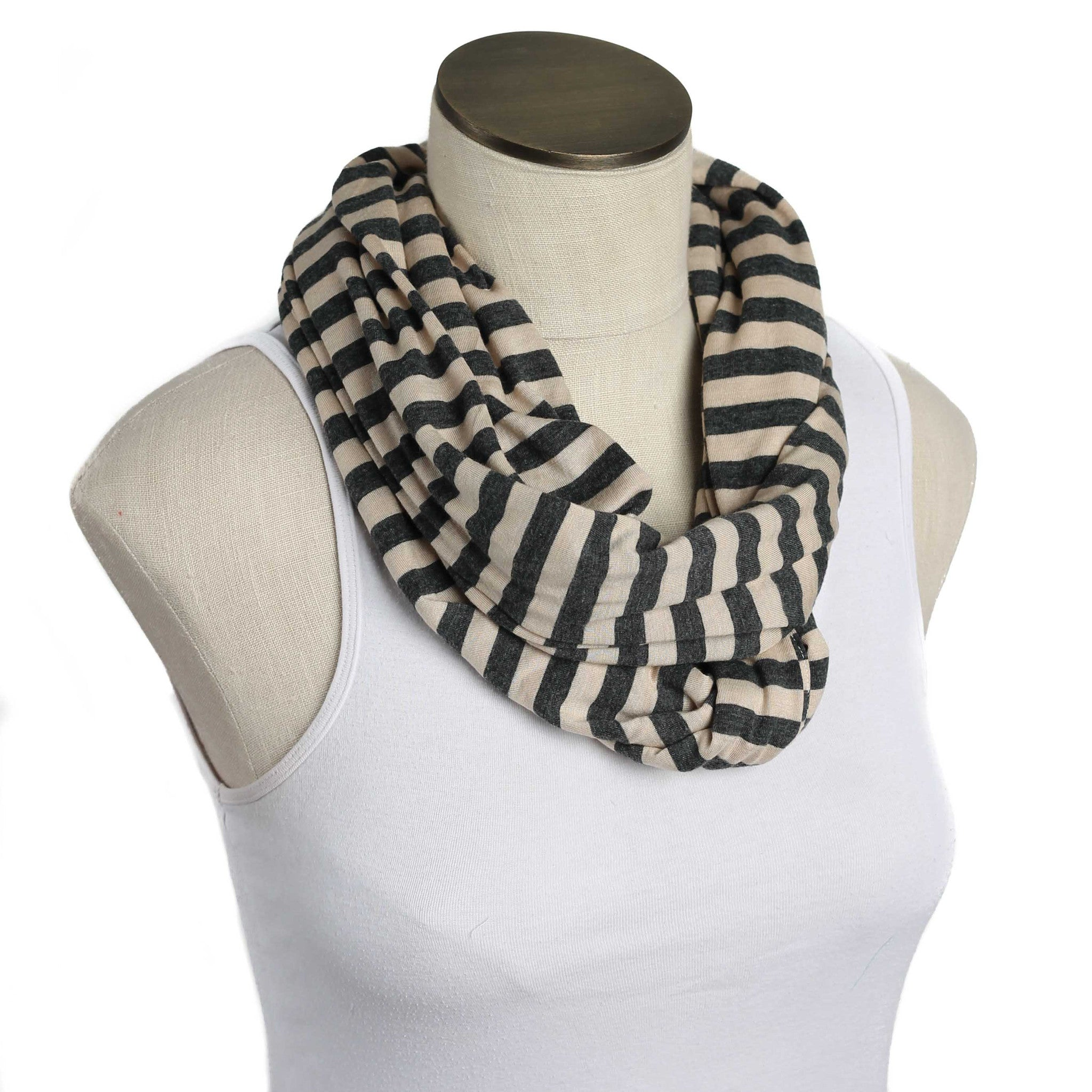 Tan & Charcoal Gray Striped Nursing Scarf
