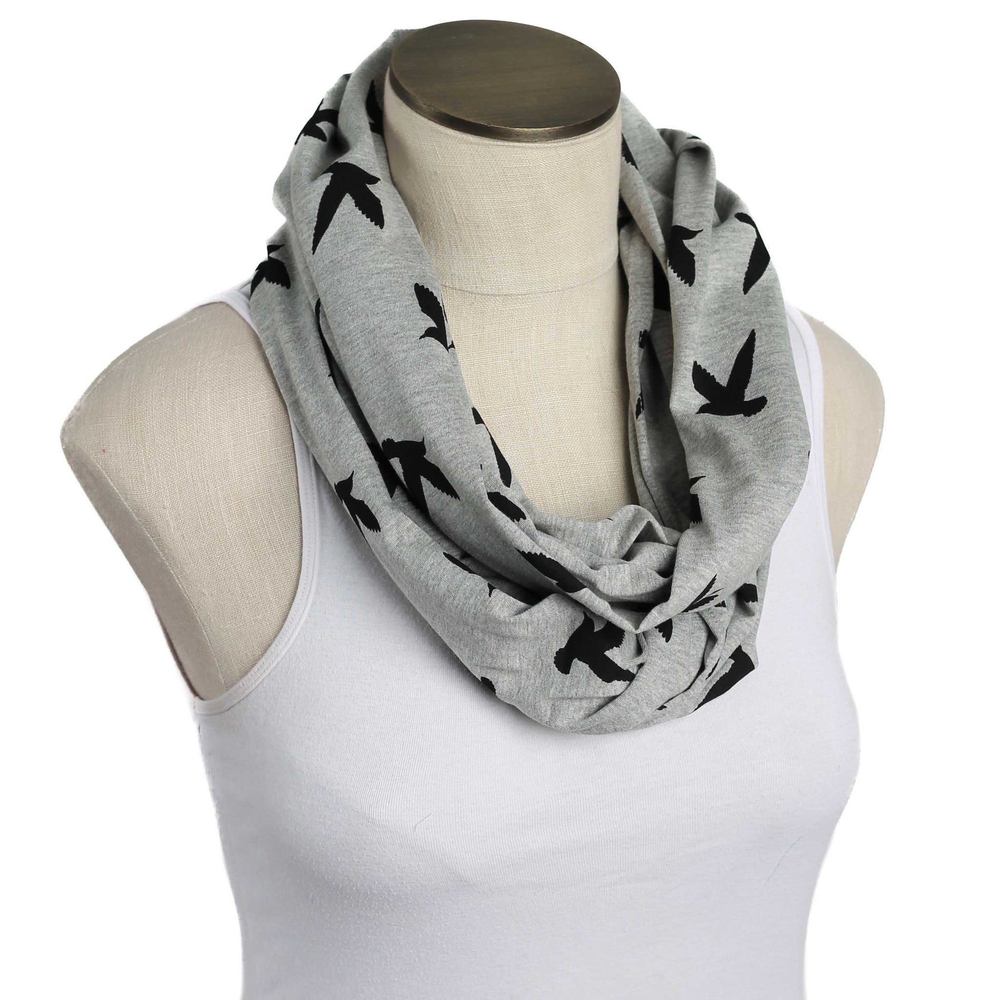 Gray with Black Birds Nursing Scarf