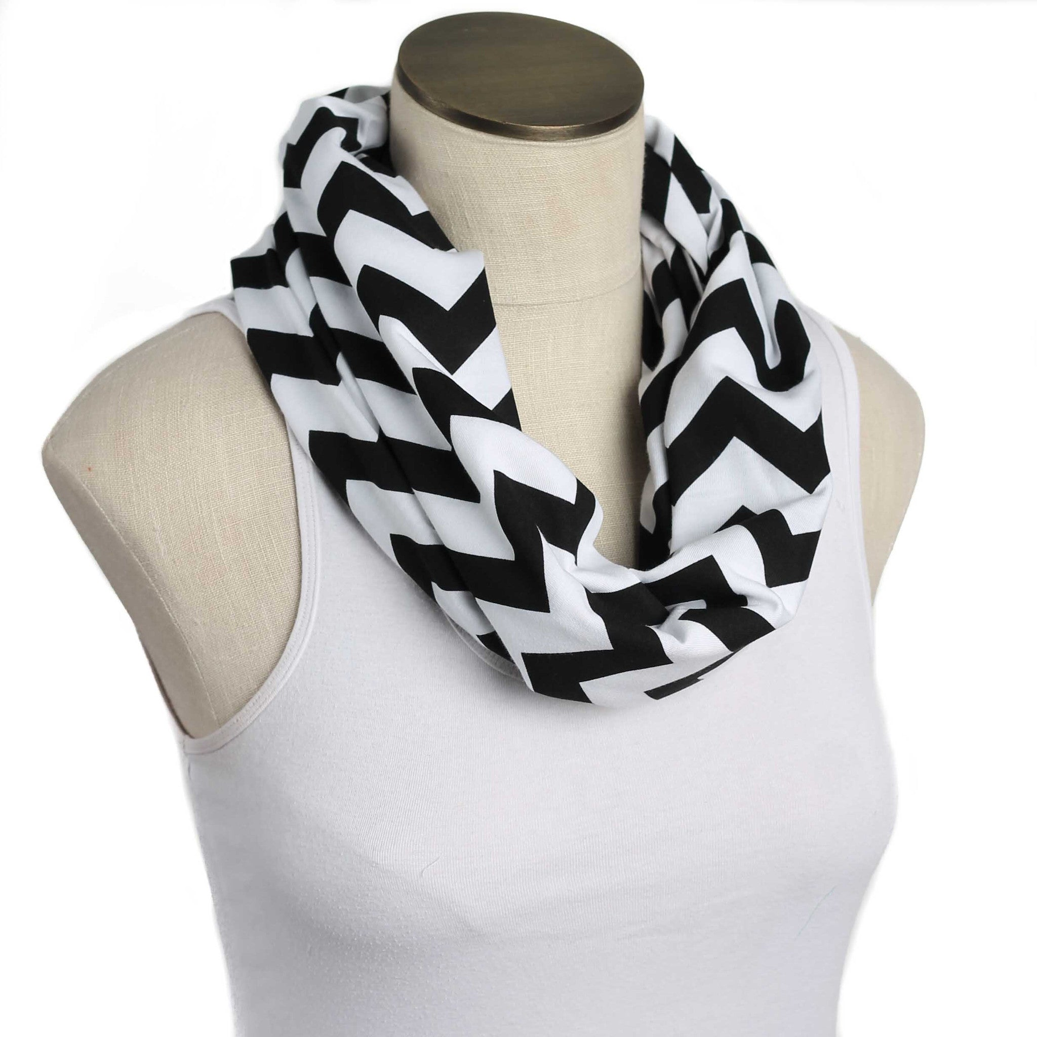 Black and White Chevron Nursing Scarf