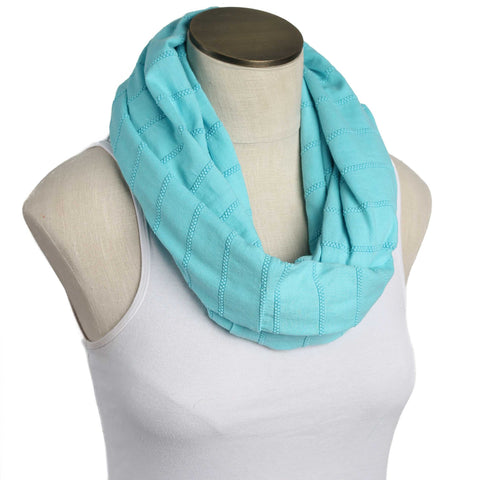 Aqua Raised Stripes Nursing Scarf