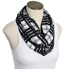 Black and White Gridlines Nursing Scarf