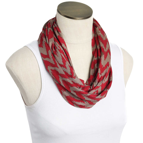 Deep Red and Tan Jagged Zig Zag Nursing Scarf