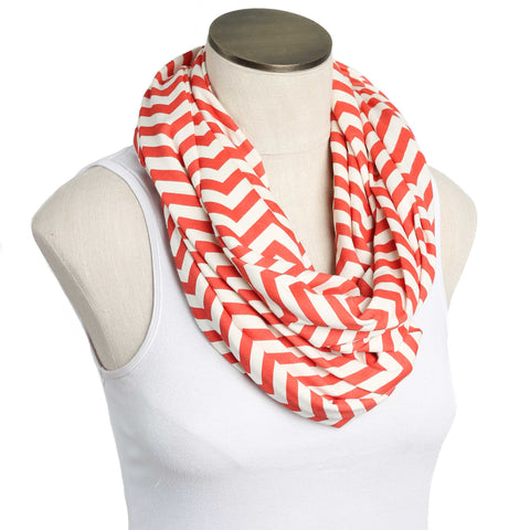 Burnt Orange Chevron 100% Organic Cotton Nursing Scarf