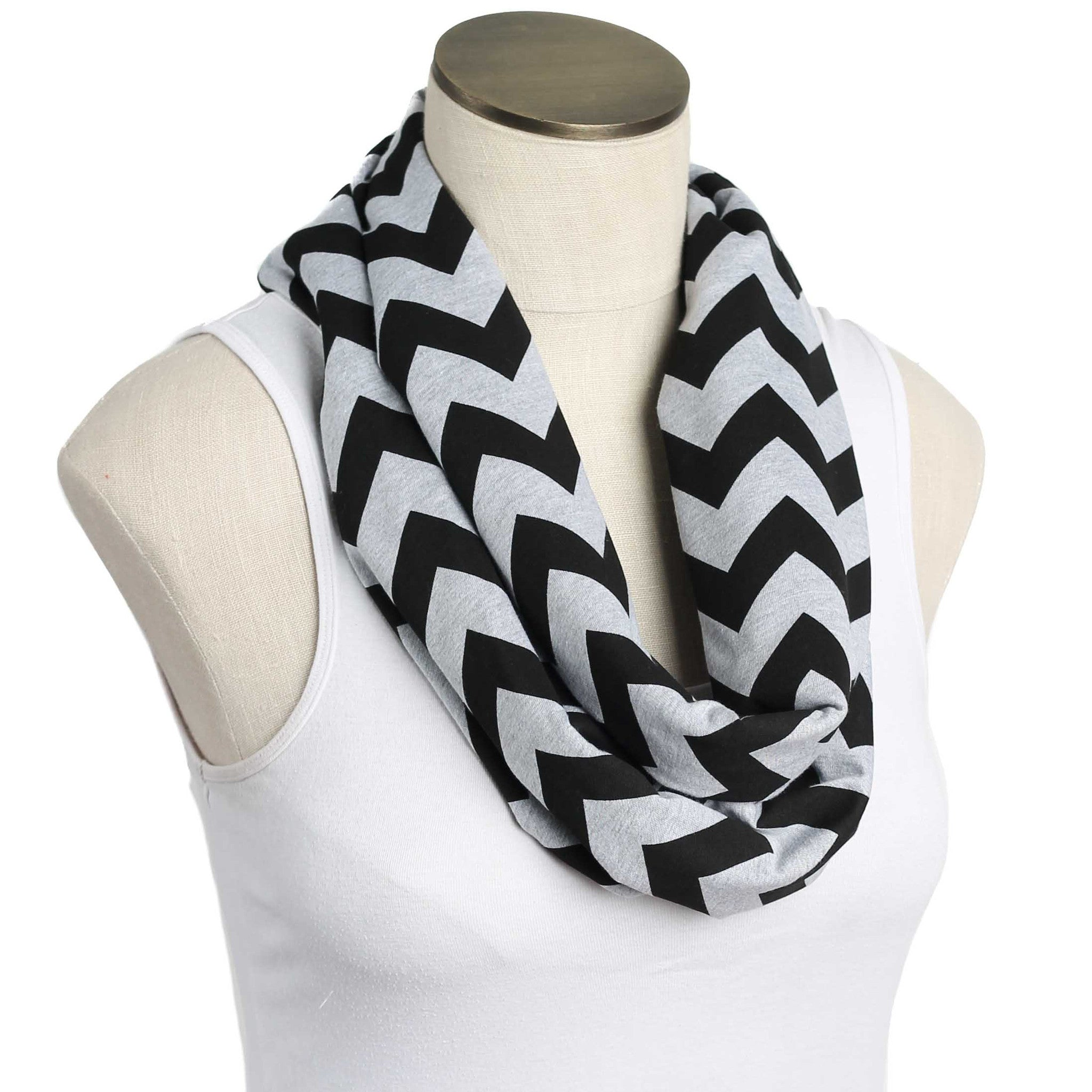 Gray and Black Chevron Nursing Scarf