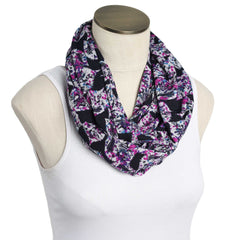 Navy & Purple Leaves Nursing Scarf