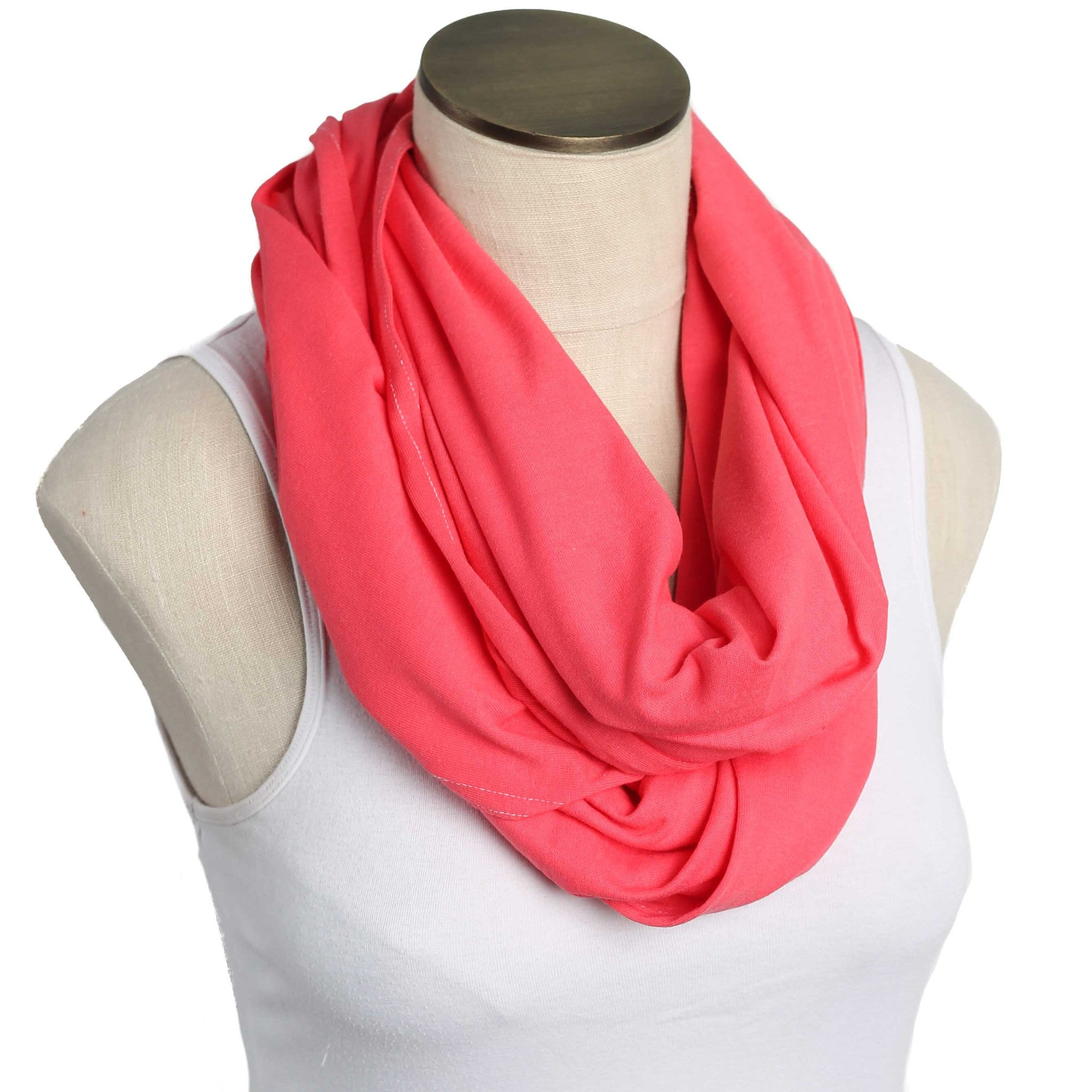 Watermelon Coral 100% Organic Cotton Nursing Scarf