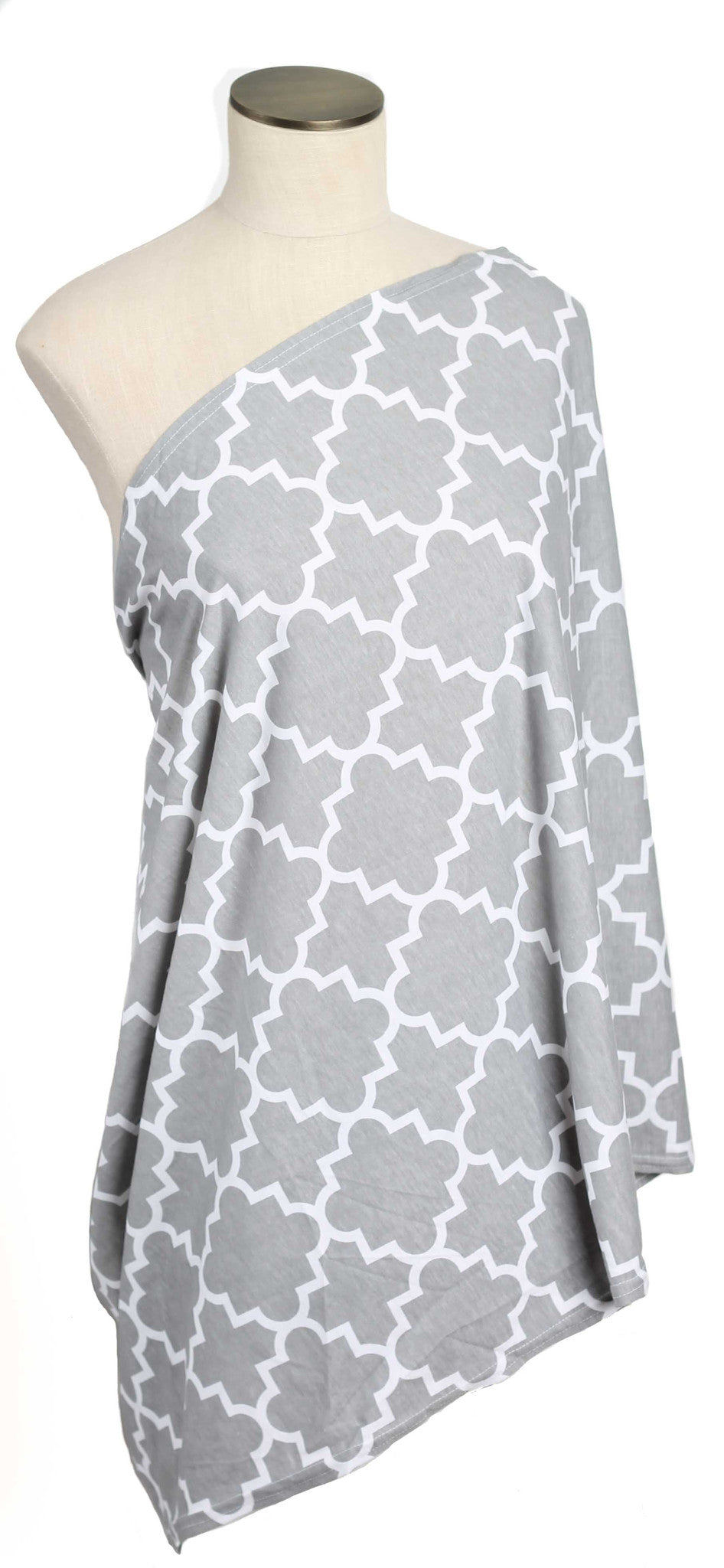 Gray Quatrefoil Striped Nursing Scarf