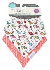Birdies and Coral Baby Gift Set of 2 Baby Bandana Bibs