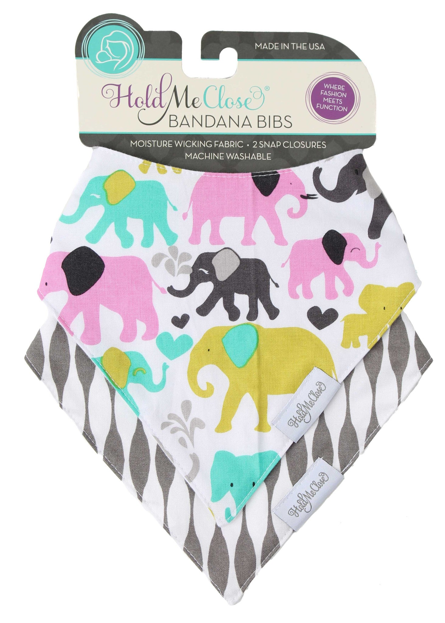 Pink & Green Elephants Baby Gift Set of 2 Baby Bandana Bibs
