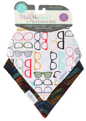 Hipster Glasses and Primary Chevron Baby Gift Set of 2 Baby Bandana Bibs