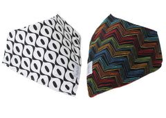 Colorful Chevron & Black and White Baby Gift Set of 2 Baby Bandana Bibs