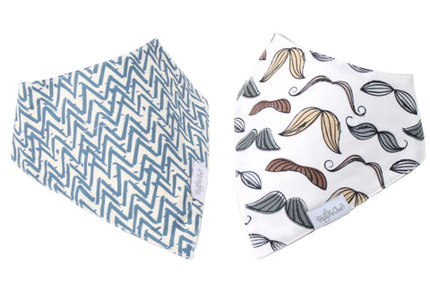 Mustaches and Blue Chevron Baby Gift Set of 2 Baby Bandana Bibs