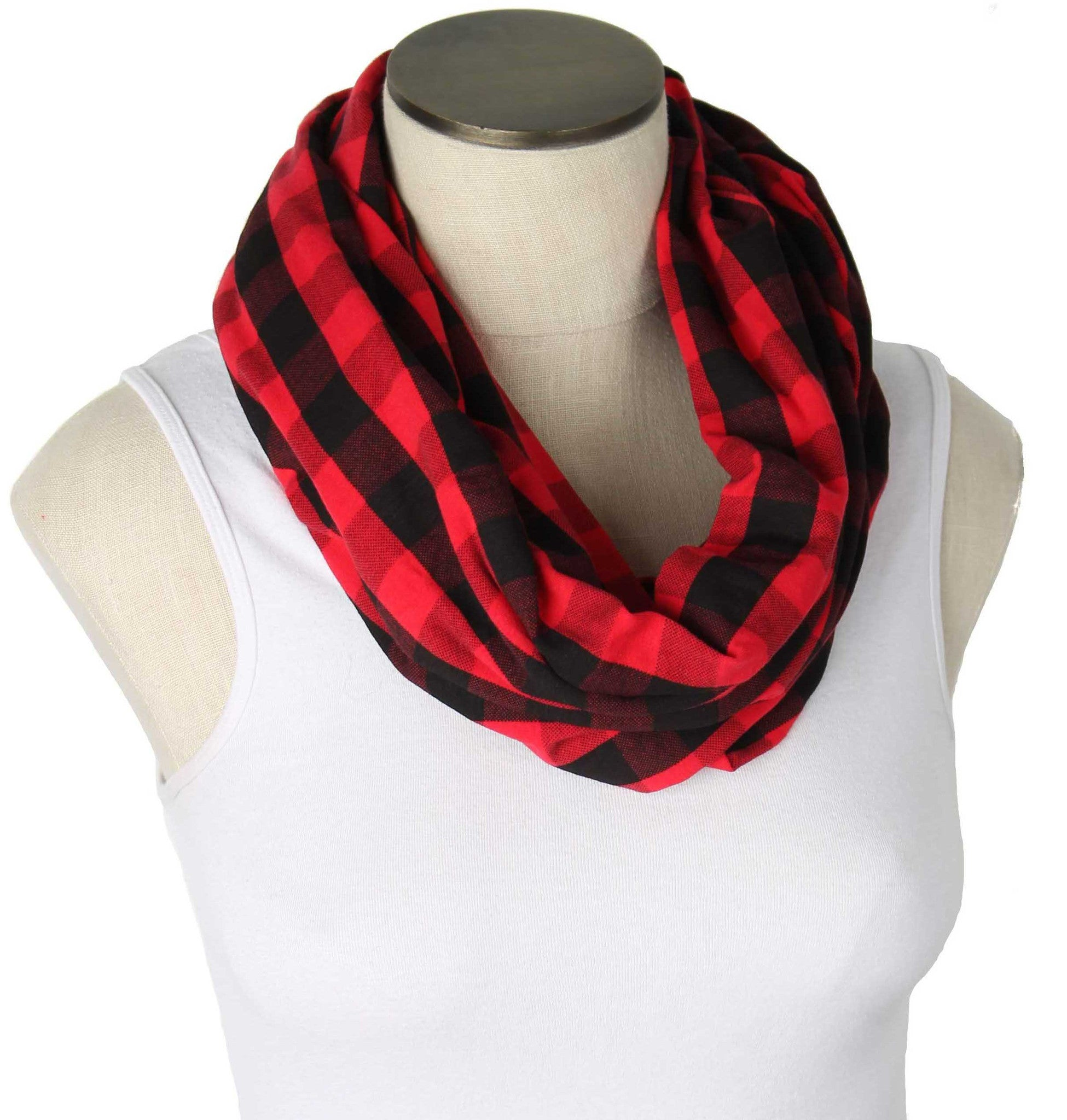 Buffalo Plaid Red & Black Nursing Scarf