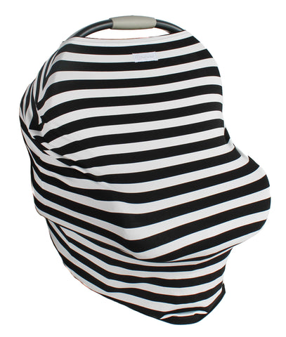 Black and White Stripe Multi-Use Stretchy Car Seat Cover and Nursing Poncho All In One, New Baby Gift