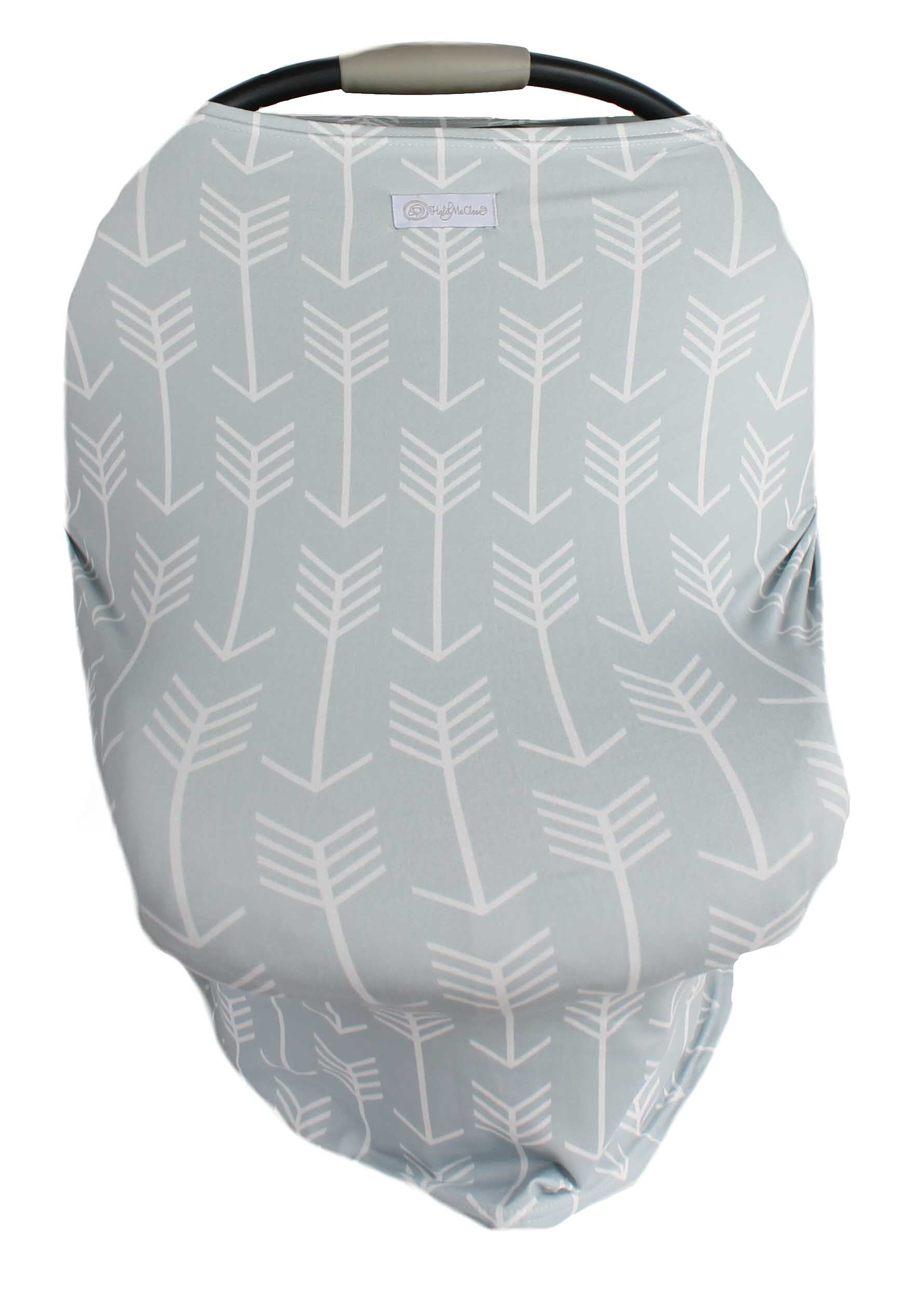 Gray with white arrows Multi-Use Stretchy Car Seat Cover and Nursing Poncho All In One, New Baby Gift