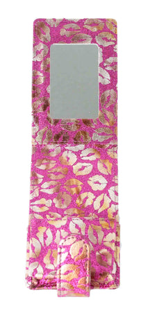 Lipstick Lip Gloss Pouch Carrying Case Magenta Glitter with Gold Lips