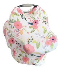 White and Pink Spring Floral Multi-Use Stretchy Car Seat Cover and Nursing Poncho All In One, New Baby Gift