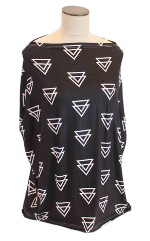 Black with White Triangles Multi-Use Stretchy Car Seat Cover and Nursing Poncho All In One, New Baby Gift