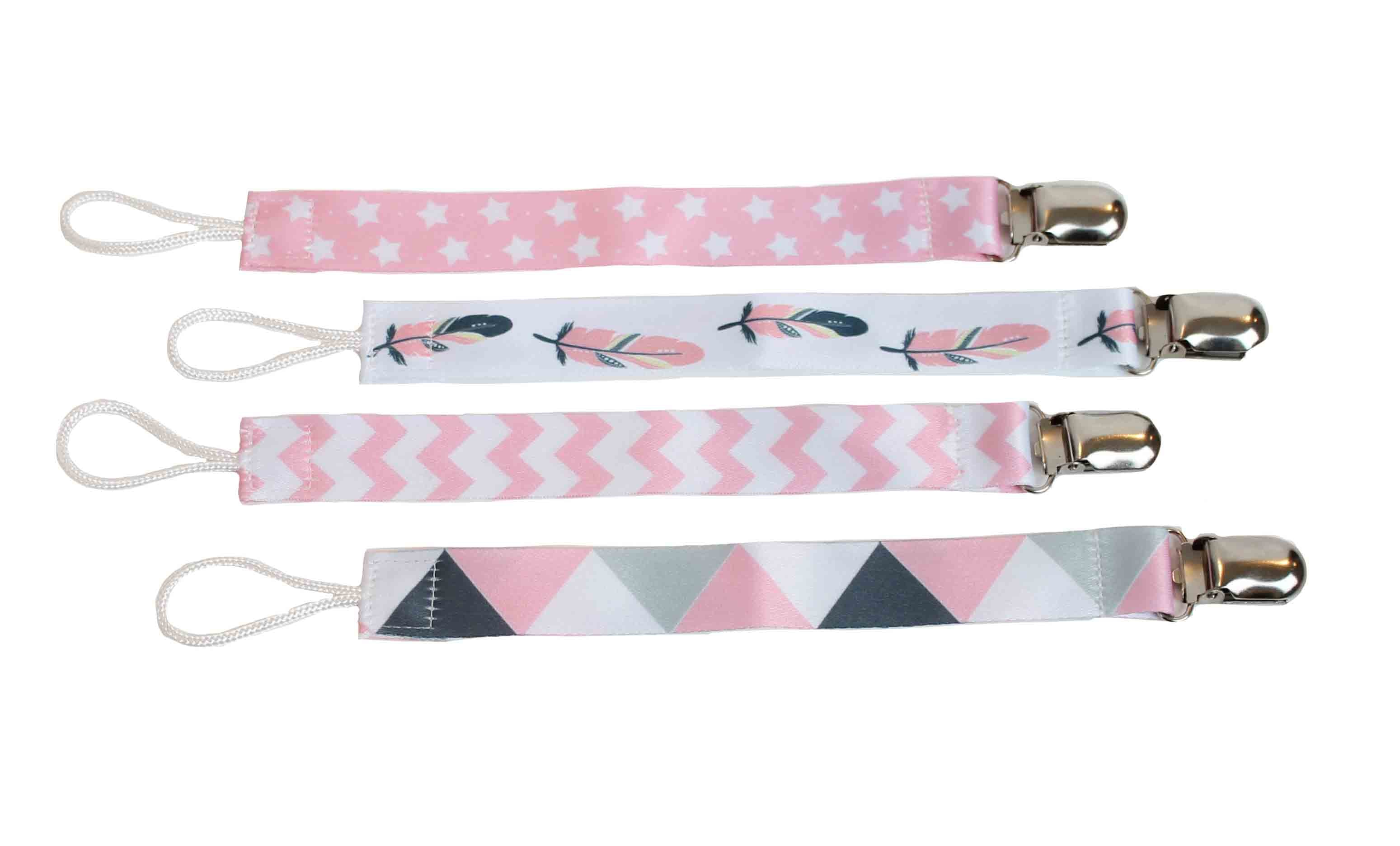 Pink, Gray, White set of 4 Pacifier Clips