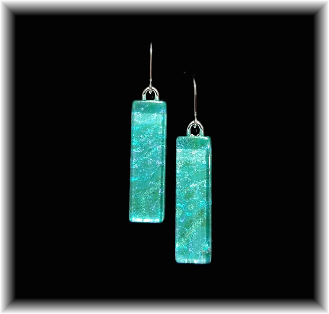 Turquoise Long Rectangle Dangle Earrings
