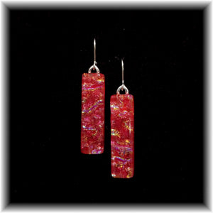 Red Long Rectangle Dangle Earrings