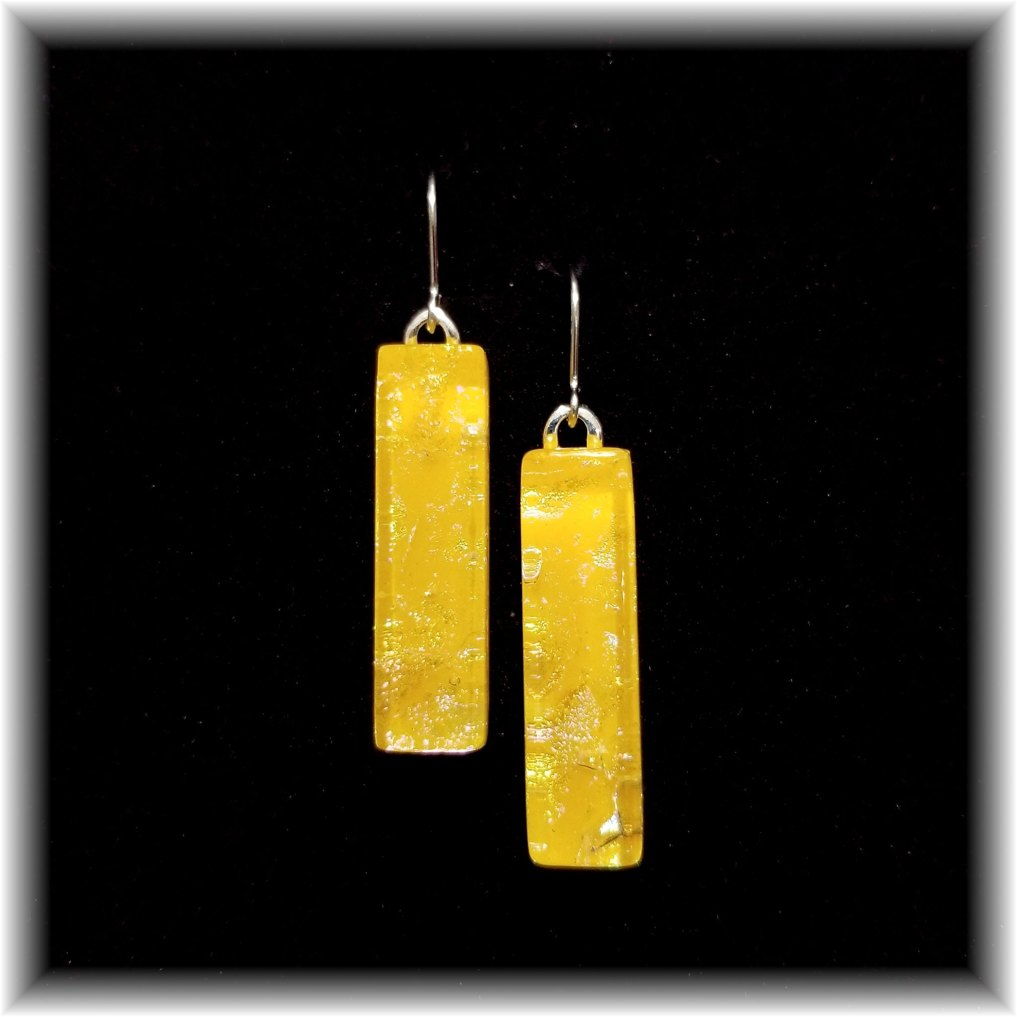 Yellow Long Rectangle Dangle Earrings