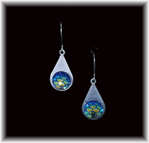 Dark Blue Mermaid Scales Stainless Teardrop Earring