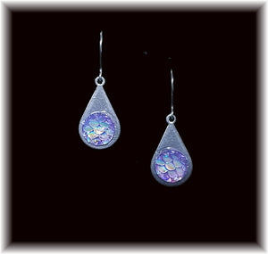 Pink Mermaid Scales Stainless Teardrop Earring
