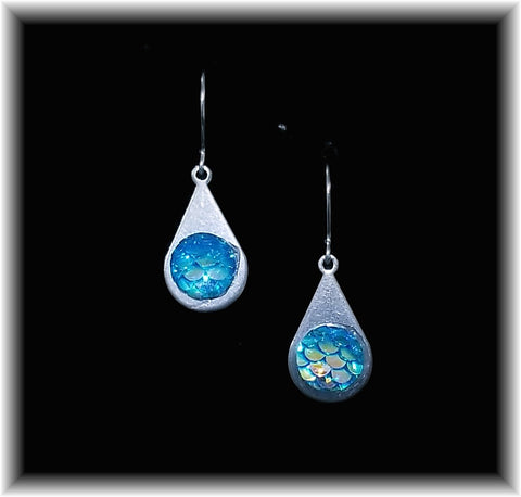 Light Blue Mermaid Scales Stainless Teardrop Earring