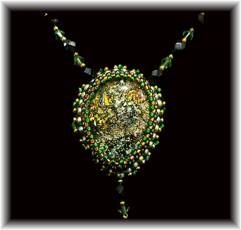 Gold Green Bead Embroidered Necklace