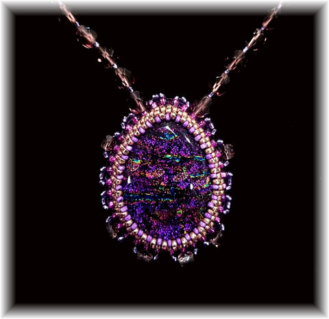 Purple Bead Embroidered Necklace