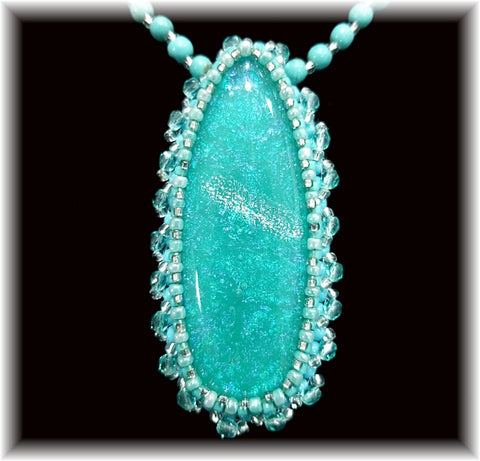 Turquoise Bead Embroidered Necklace