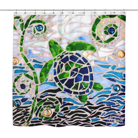 Sea Turtle Mosaic Shower Curtain